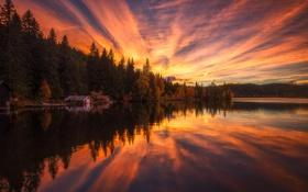 Картинка озеро, дом, лес, закат