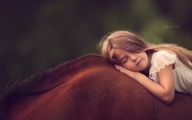 Обои настроение, конь, девочка