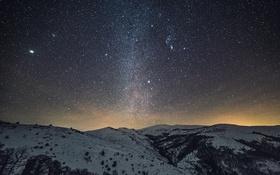 Обои ночь, пространство, звезды, горы, космос