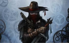 Обои пистолет, оружие, крест, меч, Van Helsing, охотник, game wallpapers
