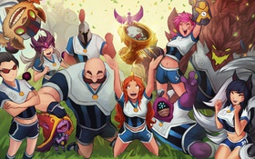 Картинка League of Legends, Ahri, riot games, Malphite, Ziggs, Braum, team