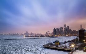 Картинка зима, снег, небоскребы, Чикаго, USA, Chicago, мегаполис