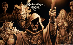 Обои armor, warriors, skeletons, Neverwinter Nights, clerics, wizards