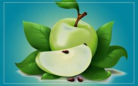 Обои лист, яблоко, арт, фрукт