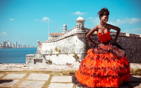 Картинка красное платье, замок, девушка
