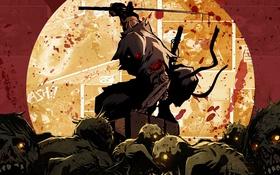 Обои кровь, зомби, ниндзя, трупы, Ninja Gaiden Z, Yaiba