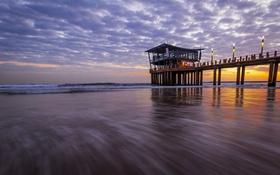 Обои тучи, океан, рассвет, отлив, строение, photographer, Ruan Bezuidenhout