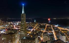Обои высота, Калифорния, San Francisco, ночь, огни, USA, California