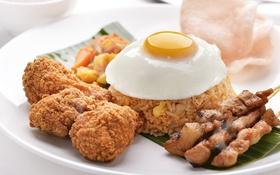 Обои яйцо, мясо, рис, яичница