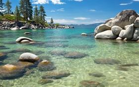 Обои лес, пейзаж, вода, озеро, камни