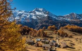 Картинка осень, горы, дома