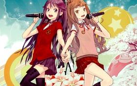 Картинка животные, девушки, аниме, арт, микрофон, двое, школьницы