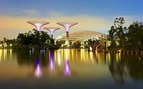 Обои вода, деревья, огни, отражение, вечер, Сингапур, башни