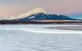 Обои зима, снег, пейзаж, гора, вулкан, Япония, Fuji