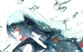 Картинка девушка, рыбки, пузыри, аниме, арт, vocaloid, hatsune miku