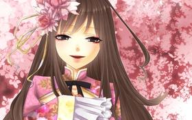 Обои цветы, улыбка, розовый, Девочка