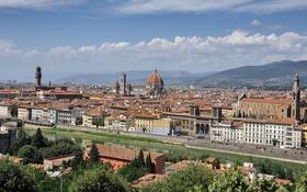 Обои небо, горы, река, дома, Италия, панорама, собор