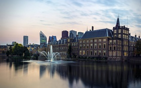 Обои река, дома, вечер, фонтан, Нидерланды, Hague