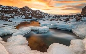 Картинка снег, пейзаж, закат