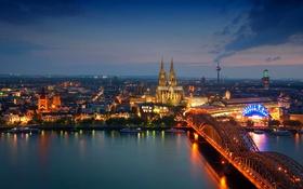 Обои ночь, мост, огни, башня, вокзал, Германия, собор