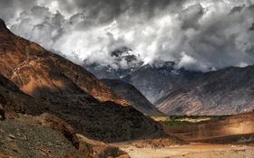 Картинка природа, тучи, горы, пейзаж