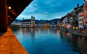 Картинка небо, огни, озеро, дома, вечер, Швейцария, набережная