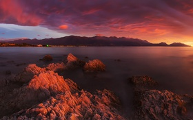 Обои Clouds, Landscape, New Zealand, Sunset, Dawn, Mountains, Seascape