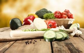 Обои лук, перец, овощи, помидоры, капуста, огурцы, гребы