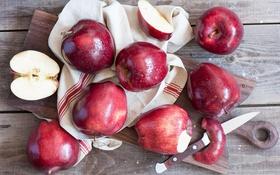 Обои яблоки, фрукты, дольки яблок