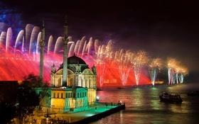 Обои ночь, огни, праздник, лодка, салют, мечеть, фейерверк