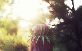 Обои волосы, листья, зеленые, рыжая, голова