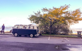 Обои дорога, небо, облака, дерево, Volkswagen, колеса, залив