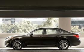 Обои черный, автомобиль, Hyundai, вид сбоку, Equus