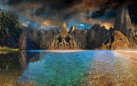 Обои небо, горы, природа, река, фото