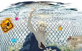 Картинка пузыри, аниме, знаки, арт, парень, vocaloid, под водой