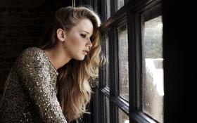 Картинка платье, актриса, окно, actress, Jennifer Lawrence, Дженнифер Лоуренс