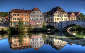 Обои река, небо, дома, отражение, мост, Швебиш-Халль, Германия