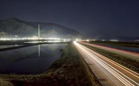 Обои Юта, ночь, Большое соленое озеро, дорога, огни