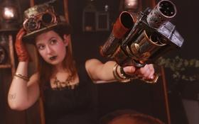 Картинка шляпа, стиль, оружие, взгляд, девушка, очки, Steampunk