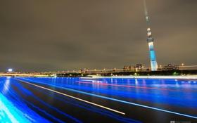 Картинка ночь, город, огни, движение, photographer, Kenji Yamamura