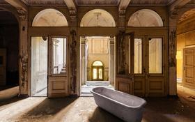Обои фон, двери, ванна