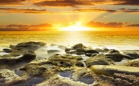 Картинка море, небо, закат, камни, sky, sea, landscape