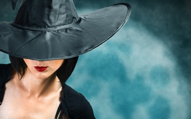 Обои woman, hat, lips, Halloween, cosplay witch