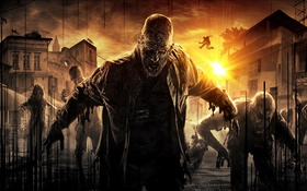 Обои Dying Light, Умирающий Свет, Солнце, Ситуация, Закат, Дома, Зомби