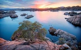 Картинка Arizona, Prescott, Watson Lake, кусты, США, озеро, камни