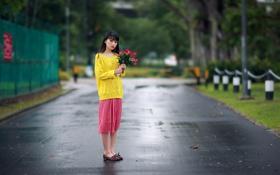 Обои цветы, улица, девушка, азиатка