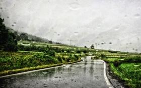 Обои дорога, стекло, капли, холм, линии электропередачи, дождливая, серые облака
