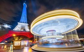 Обои огни, краски, Франция, Париж, Эйфелева башня, карусель