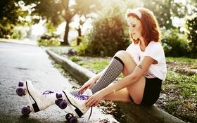 Картинка Katy, девушка, ролики, улица