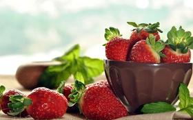 Обои ягоды, клубника, миска, berries, strawberries, bowl
